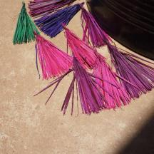 The dyed grass drying in the sun