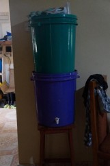 Our filtered water, pour water into top bucket and it filters down into the bottom one.
