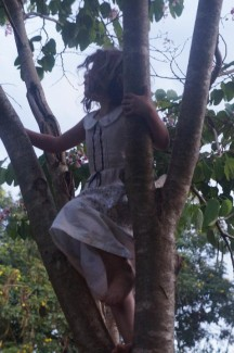Yes, tree climbing in a white dress, just glad she had clean panties on. Not that it matters here where children don't wear any!
